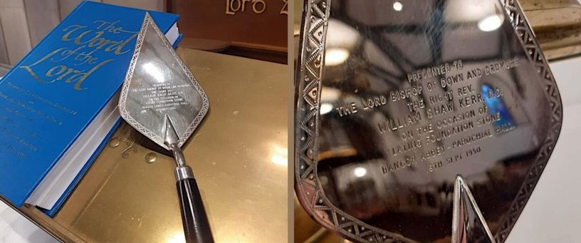 Silver Trowel presented to Lord Bishop of Down and Dromore, 8 Sep 1950.